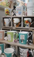 coffee mugs, wallets, handbags, jewelry, pillows, wall décor, stuffed animals, t-shirts
